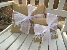 cojin, ring bearer pillows, con arpillera, creativ idea, diy burlap, lace pillow