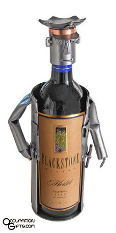 Policeman Wine Bottle Holder... from OccupationGifts.com - Find a Birthday or Christmas Gift Idea for your favorite Policeman or Policewoman #gifts #police
