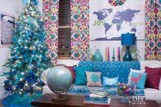 colorful Christmas decorating