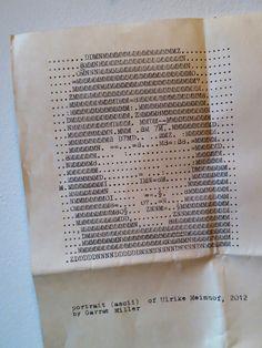 ascii portrait of ulrike meinhof done on a typewriter, by garret mille