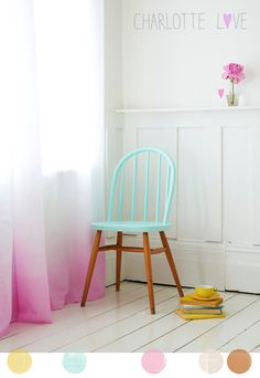 wooden chairs, pastel, blue, color, painted chairs
