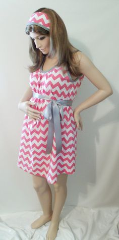 Chevron Maternity Hospital Gown, delivery nursing gown breastfeeding gown