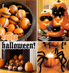 I love the masked pumpkins. So cute.