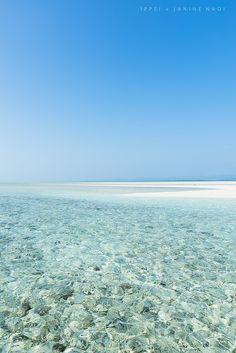 Crystal clear water, Kondoi Coral Beach, Taketomi Island, Okinawa, Japan