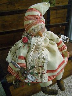 PRIMITIVE SNOWMAN GIRL DOLL