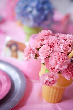 Ice cream cone flower centerpiece