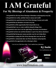 """One of the quickest and easiest ways to allow abundance into your life is by deliberately focusing more on gratitude   Focus on things that you appreciate and feel grateful for, and you'll be blessed with more things to be grateful for. Learn more on how to start your Gratitude Journal and increase your attractor factor with """"The Power of I Am and the Law of Attraction"""" available in print, ebook and audiobook everywhere! http://amzn.com/099162310X"""