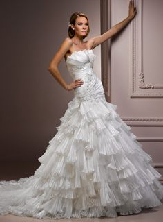 Ball Gown Scalloped-Edge Chapel Train Charming Satin with Ruffle wedding dress
