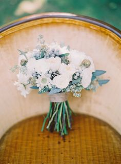 Charming White Wedding Bouquet on SMP: http://www.StyleMePretty.com/2014/03/06/fall-wedding-at-cherry-basket-farm/ Photography: Michelle March