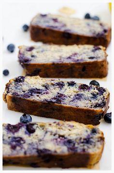 Blueberry Banana Bread  via @cookingalamel/ // #glutenfree #banana #bananabread #blueberry
