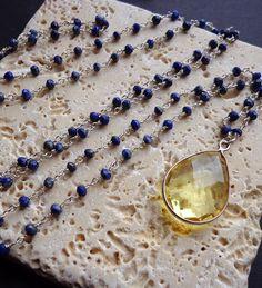 PEACE - Long Lapis Lazuli Wire Wrapped Chain Necklace with Lemon Quartz Teardrop Pendant by BohemianButterfly19 on Etsy
