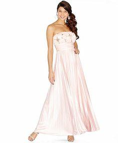 Speechless Juniors Dress, Strapless Sequin Rosette Pleated Gown