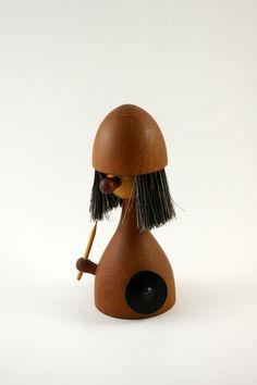 Laurids Lonborg Teak Viking Figurine and Lint Brush by bitofbutter, $60.00
