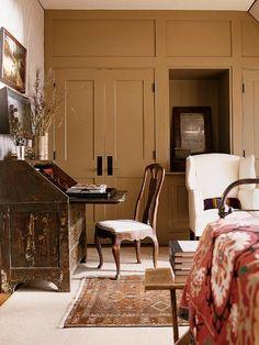 18th c. drop-front desk in this room designed by Amelia Handegan
