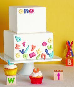 The TomKat Studio: Great Cake Decorating… love the alphabet fridge magnet look.