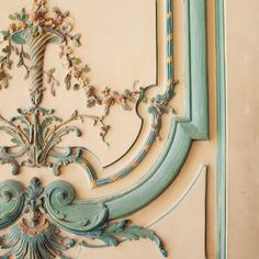 French panel; tan & turquoise