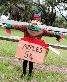CUTE! Apple Tree costume - seems to be pretty easy to make too -found it on: Mom E and the Joyful Three - My Chaos - What To Expect Blogs