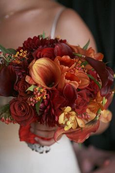 Orange and Burgundy Calla Lilies, Roses, and Dahlias (THESE COLORS, ALL ROSES!)