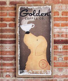 Another great find on #zulily! 'Golden Coffee Co.' Burlap Canvas #zulilyfinds @flyersfan4eva i am in love with this canva zulilyfind, fresh coffe, golden coffe, burlap canva, dog art