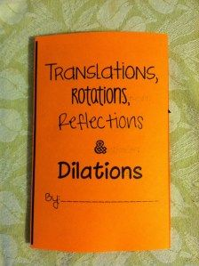 Translations, rotations, reflections and dilations foldable. Printable PDF.
