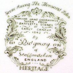 Heritage pattern by Ridgway Pottery - Scene among the 1000 Isles - backstamp