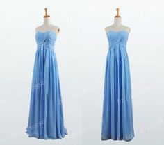 2014 Sky Blue Ruffled Strapless Long Empired by Merrymedress, $85.00