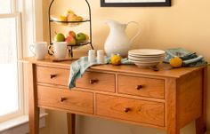 Beautiful hardwood dining room furniture. Our classic shaker hutch / huntboard. Made in Vermont from local craftsmen.