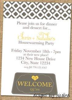 Welcome Mat  Housewarming Party PRINTABLE by designsbynicolina, $12.00
