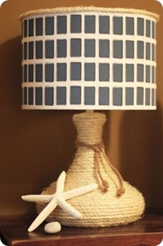 west elm inspired nautical rope lamp - lamp makeover idea