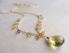Lemon Quartz Necklace Gemstone Necklace Drop by beachjewels72, $69.00