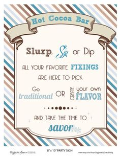 awesome printables for a hot chocolate bar FREE