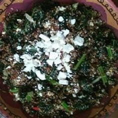 Red Quinoa and Tuscan Kale | This side dish mixes kale and quinoa withe lemon, bell pepper, sweet onion, almonds, and feta cheese for a flavor-packed menu item.