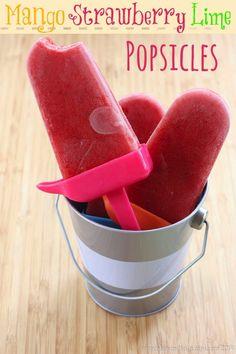 Mango Strawberry Lime Popsicles - a sweet, tart, light and healthy summer frozen dessert | cupcakesandkalechips.com | #glutenfree #vegan