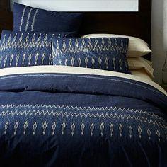 Organic Indigo Ikat Stripe Duvet Cover + Shams #westelm