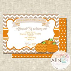 Little Pumpkin Invitation By A Blissful Nest #fall #party #birthday
