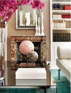 global glam, living room, mirrored coffee table, Elle Decor Spain
