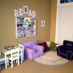Kids playroom reading nook
