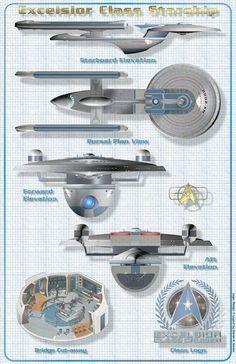 Star Trek Schematics   Excelsior Class Starship-Original Version