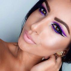 Brown eyes, purple liner/eyeshadow