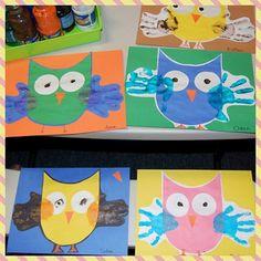 Handprint Owls! #febphoto366 #owl #hand #constructionpaper #preschool