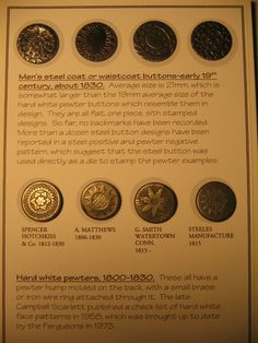 ButtonArtMuseum.com - Early 1800s 19th Centrury Waistcoast Buttons Steel and Pewter