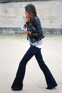 leather jacket and flared denim