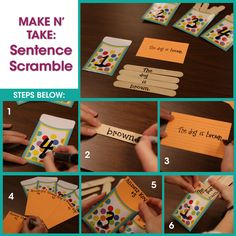We love this fun idea to practice sentence building! Write different parts of a sentence on popsicle sticks and load them into a pocket or envelope. Let students unscramble and build the sentences. Don't forget to include an answer key for self-checking!