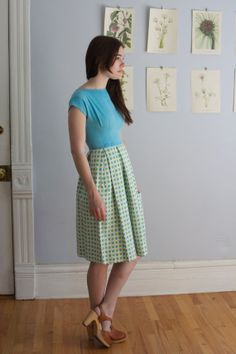 Vintage 1960s Turquoise & Lime Green Daisy Dress  by samanthabalk, $44.00