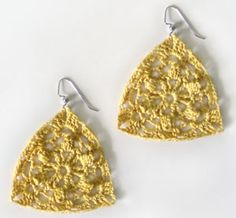 Crochet Pattern: Floral Triangle Earrings  By Rachel – 5 Comments  New in the Crochet Spot Store, this pattern uses size 10 thread to make light and lacy earrings. The earrings are designed with a subtle pinwheel flower in the center. Although the earrings have a dainty and delicate look, they still hold their shape well. For folks who prefer more solid and less flexible earrings, the earrings can easily be starched or stiffened.  Click here to see full pattern details!    All purchases help to su...