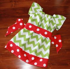 Girls Infant or Toddler Christmas Dress Peasant Dress in Green Chevron and Red Polka Dot  - Available in Sizes 3M - 8
