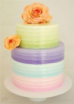 Pretty ombre pastel wedding cake