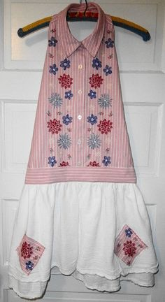 Shabby Chic Upcycled Apron / Stripes and Machine Embroidered Flowers.