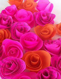 paper roses, fuschia, orang, color schemes, colors, paper flowers, pink, belle, chinoiserie chic