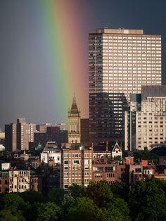 Rainbow over Boston, Massachusetts